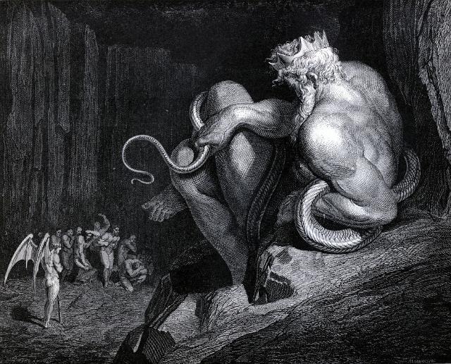 Il Re Minosse in una incisione di Gustave Doré per la Divina Commedia di Dante Alighieri