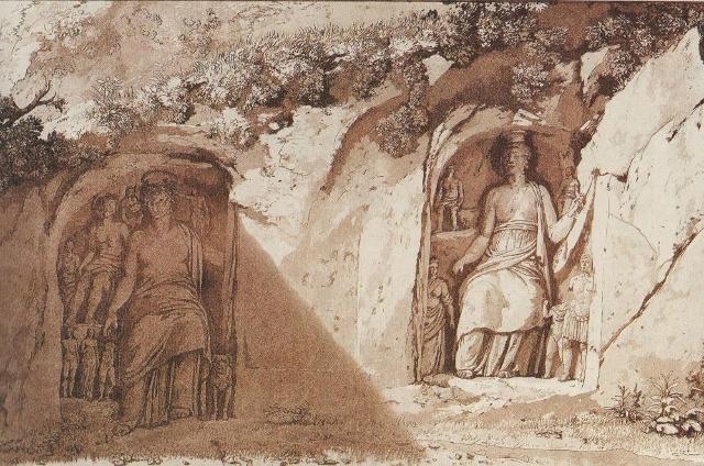 I Santoni di Akrai in un'incisione di Jean-Pierre Houël