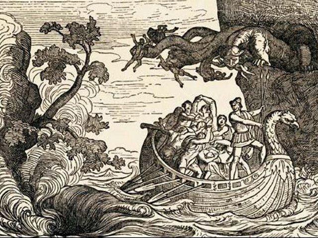 Ulisse e i suoi uomini che lottano contro Scilla, illustrazione dell'Odissea del 1880