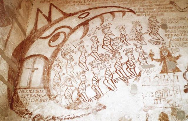 """Un particolare dei graffiti dei carcerati dello Steri. A finire nelle prigioni di Palazzo Chiaramonte erano gli eretici e le """"streghe""""."""