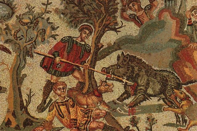 Villa romana del Casale - Un particolare del mosaico della Grande Caccia