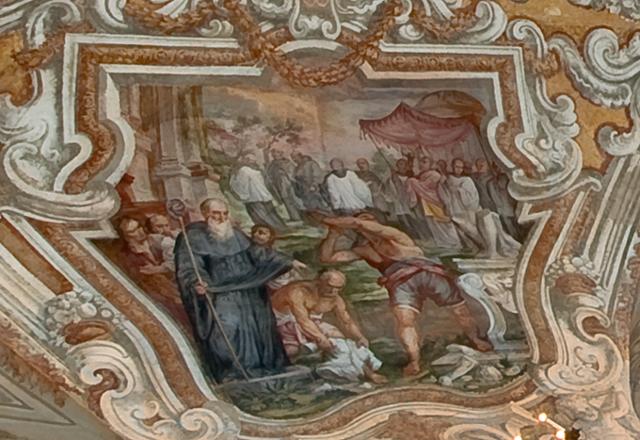 Affresco con scene della vita di San Benedetto dell'artista messinese Giovanni Tuccari - ph Alfio Bonina