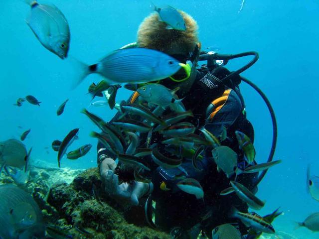Un sub nelle acque di Lampedusa