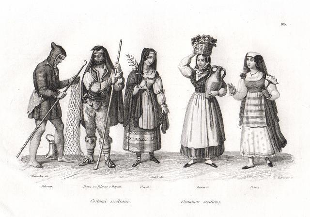 Un'illustrazione che mostra i tipici costumi siciliani