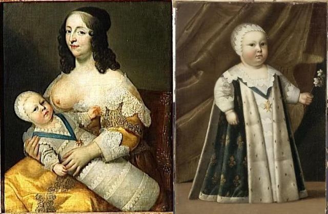 A sinistra: Luigi XIV in fasce in braccio alla madre, Anna d'Austria - A destra: Luigi XIV bambino, ritratto da Henri Beaubrun