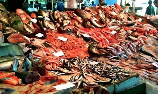 Ricca l'offerta di pesce fresco nei banchi del Mercato di Ballarò - Palermo
