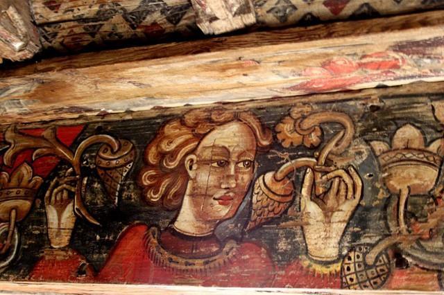 Particolare del tetto ligneo dipinto della Cattedrale di San Nicolò a Nicosia (EN). Una delle opere d'arte più belle del periodo medievale in Europa.