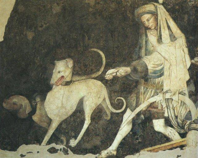 Colui che tiene a guinzaglio i due cani dallo sguardo umano, intralcia il passo verso la fonte della vita eterna che è sulla destra. La figura del cane è il simbolo dell'avidità, del desiderio, della collera e della sensualità, sensazioni e sentimenti che sfuggono al controllo dello spirito e della ragione...