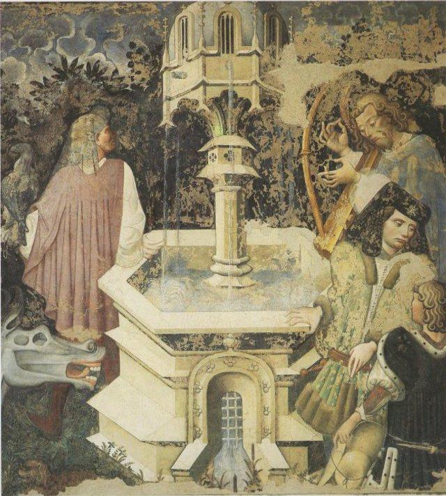 """La figura di spalle, appoggiata alla fontana, che tiene sul braccio il rapace, è San Giovanni. Aquila o falco che sia, entrambi i tipi simbolici sono ascensionali e indicano """"vittoria"""", sia acquisita che in via di acquisizione. E' la figura chiave dell'intero affresco."""