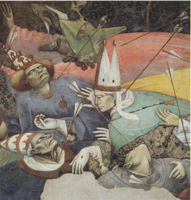 Le frecce scagliate dal cavaliere scheletrico sono il simbolo del morbo pestifero, che colpisce le figure di alto rango religioso e politico...