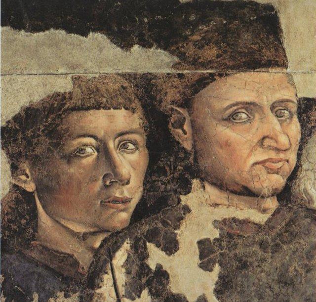 L'anonimo autore del Trionfo della Morte e il suo aiutante sono ritratti nel dipinto, li vediamo benissimo, sono gli unici attori della scena che guardano dritti verso di noi...