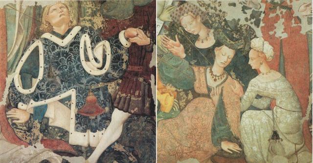 Nella parte destra dell'affresco, vediamo due giovani, un uomo e una donna colpiti anch'essi dalle frecce, ma nel loro volto l'espressione e il colorito sono diversi...