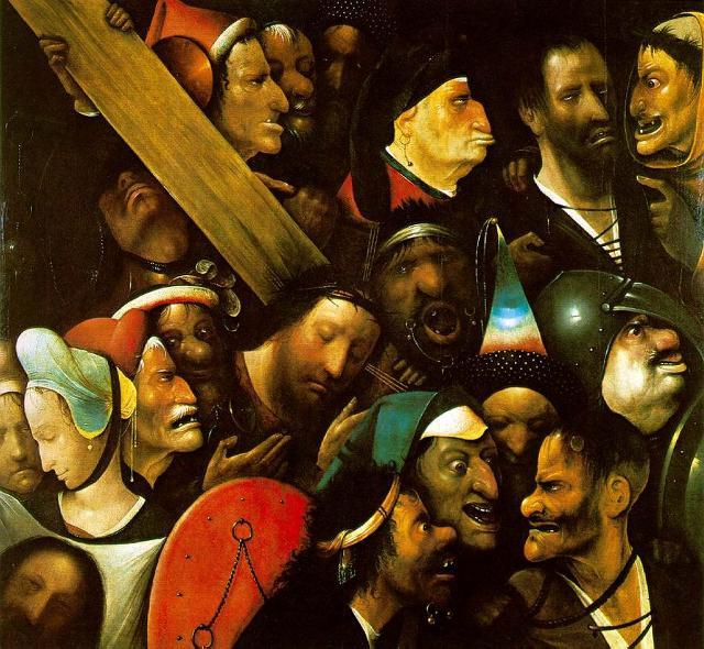 La Salita al Calvario (o Cristo portacroce) dipinto attribuito a Hieronymus Bosch (Olio su tavola, Museum voor Schone Kunsten, Gand)