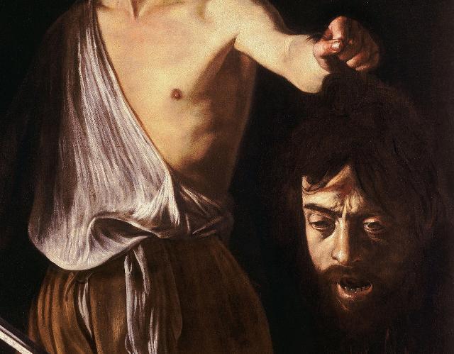 """Particolare del """"David con la testa di Golia"""" di Caravaggio"""