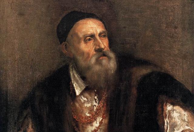 Tiziano, Autoritratto, 1562 circa, olio su tela, particolare