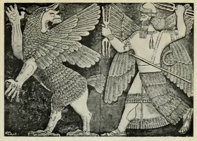 Il dio babilonese Marduk e la dea del caos Tiamat
