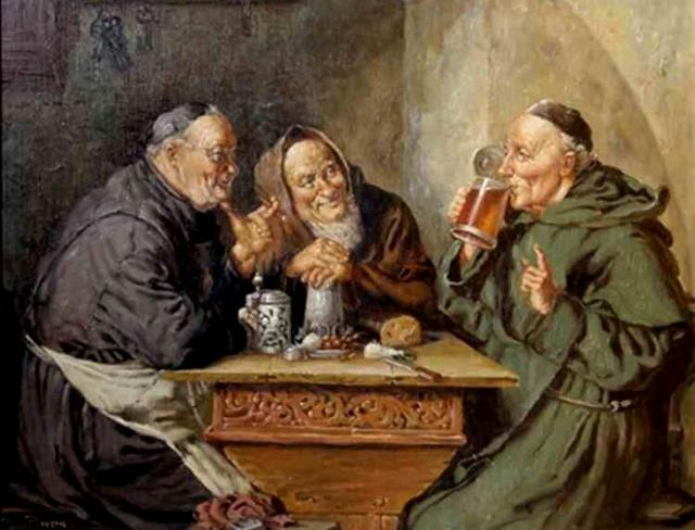 Monaci che bevono birra in una osteria medievale