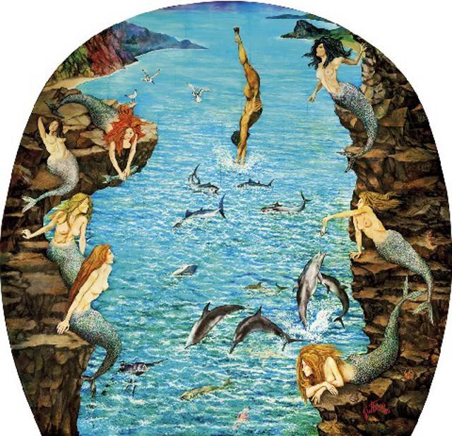 """""""Colapesce"""" di Renato Guttuso (1985). Pannelli dipinti ad olio che si trovano nel Teatro Vittorio Emanuele di Messina"""