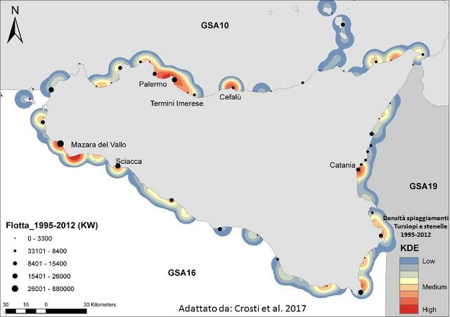 Mappa delle flotte marinare e degli spiaggiamenti di Tursiopi e Stenelle