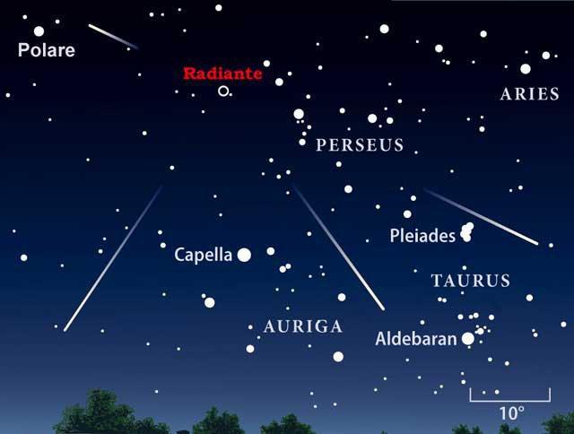 La mappa astronomica con la radiante delle Perseidi