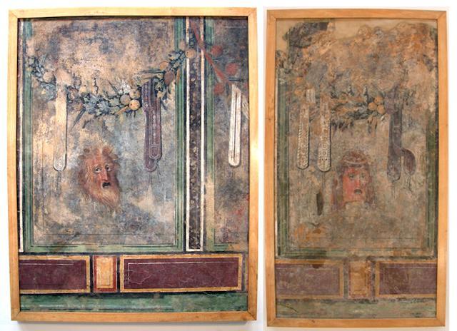 """Gli affreschi della """"Casa delle Maschere"""" di Solunto, restaurati ed esposti al Museo Salinas di Palermo"""