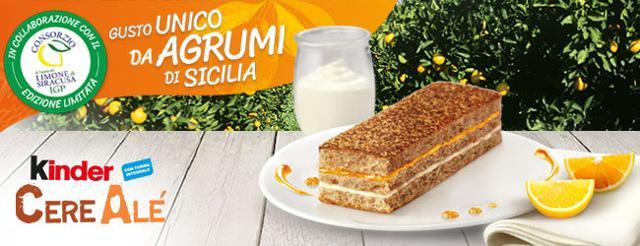 L'edizione limitata di Kinder Cerealé agli agrumi di Sicilia