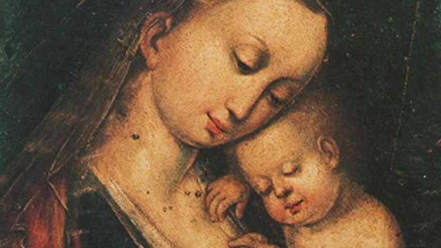 Una Madonna con Bambino conservata nel Museo d'Arte Sacra nelle catacombe della Chiesa di San Cono - Naso (ME)