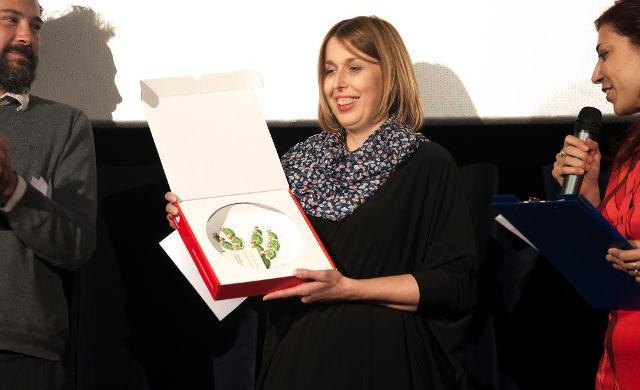 La regista croata Irena Jukic Pranjic al ritiro del Premio Lorenzo Vecchio
