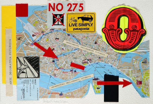 Pablo Echaurren: Occupy Biennale, Collage, 39 x 56 cm, 2013. Collezione privata. Foto: © Massimiliano Ruta