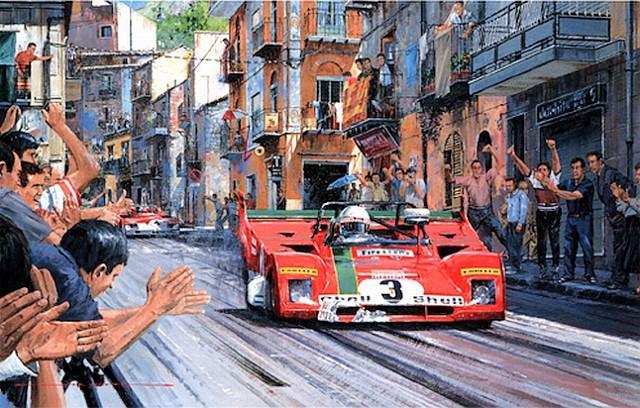 I piloti Arturo Merzario e Sandro Munari in gara alla Targa Florio del 1972 in un dipinto di Nicholas Watts