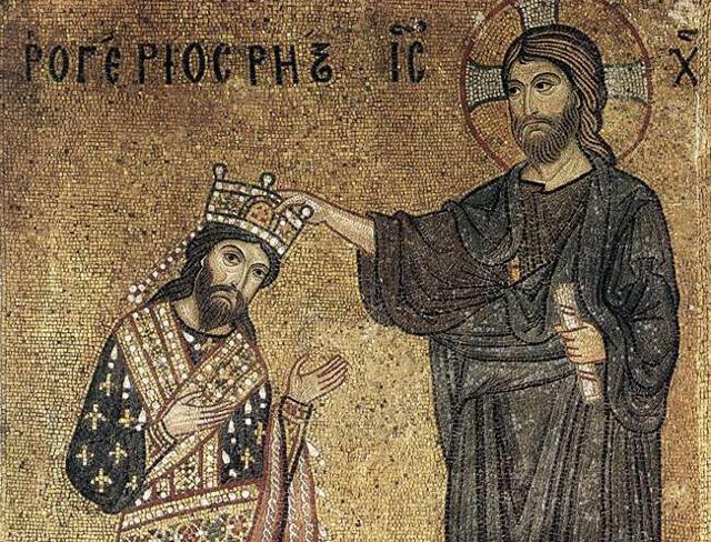 Ruggero II di Sicilia riceve la corona da Cristo, mosaico pressso la Chiesa della Martorana di Palermo