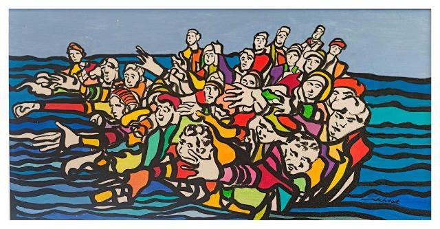 """Francesco Anastasi """"Migranti"""", 2016 (acrilico su tavola - 45x60)"""