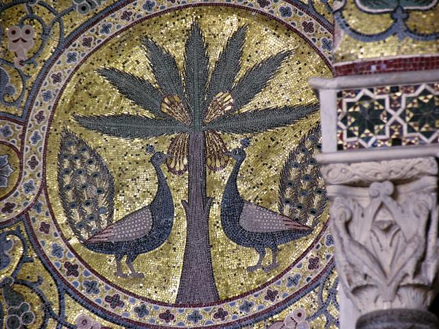 Palazzo della Zisa, Sala della Fontana, particolare con mosaici