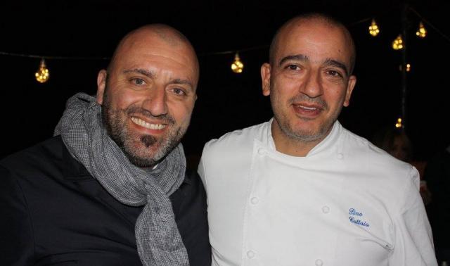 """I due chef stellati Tony Lo Coco (""""I Pupi"""" di Bagheria) e Pino Cuttaia (""""La Madia"""" di Licata)"""