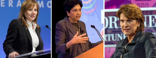 Da sx a dx: Mary Barra, CEO di General Motors - Indra Nooyi, AD di Pepsi - Marillyn Hewson, CEO di Lockheed Martin.