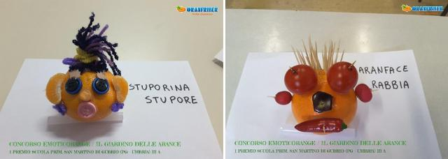 Le Emoticorange prime classificate realizzate dalla classe IIIA della Scuola Primaria San Martino Gubbio (PG-Umbria)