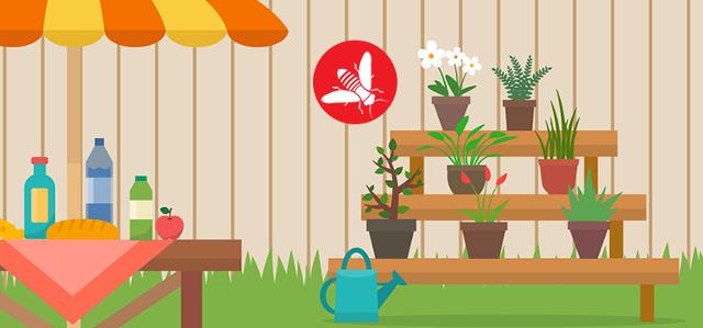 Evitare di accumulare residui di acqua stagnante nei vasi o in presenza di fontane e piscine. Gli insetti con pungiglione sono infatti spesso alla ricerca di acqua per abbeverarsi.
