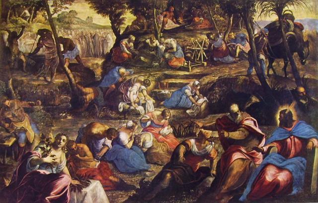 """""""La raccolta della manna"""" di Jacopo Robusti detto il Tintoretto - Chiesa di San Giorgio Maggiore a Venezia"""