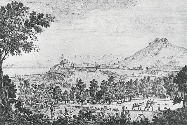 Veduta della città di Termini e campagna vicina dalla Ginestra superiore, di Gandolfo Ferrara (1821)