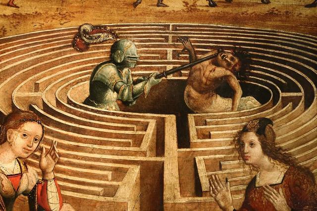 Teseo e il Minotauro, Maestro dei cassoni campana (1510-15 ca.), Avignone, Piccolo Palazzo