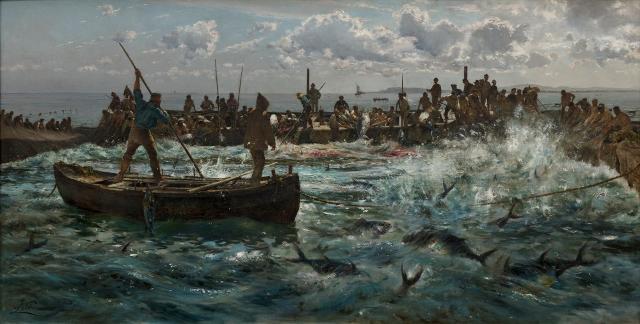 La pesca del tonno (La mattanza a Favignana), Antonino Leto - 1887 | Olio su tela, 96 × 188 cm