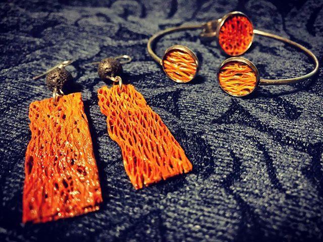 """Orecchini, bracciale e anello in """"puro"""" nopallo! Atelier Manituana"""