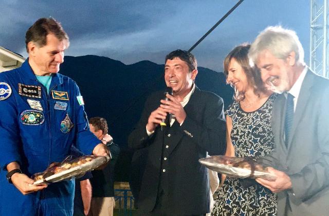 Da sinistra: l'astronauta Paolo Nespoli, il maestro pasticcere Nicola Fiasconaro e il giornalista scientifico Piero Bianucci