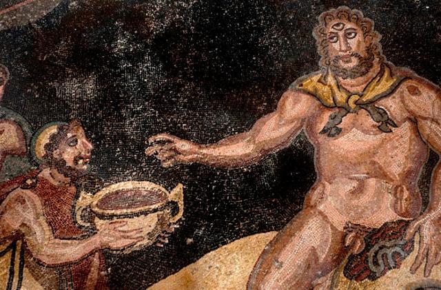 """Un particolare del mosaico nel """"Vestibolo Di Polifemo"""" nella Villa romana del Casale a Piazza Armerina"""
