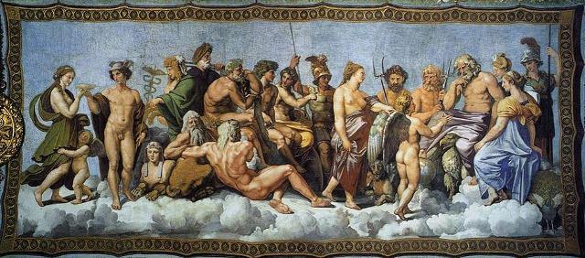 """""""Il Consiglio degli Dei, Psiche ricevuta nell'Olimpo"""", affresco di Raffaello Sanzio a Roma, Villa Farnesina, Loggia di Psiche"""