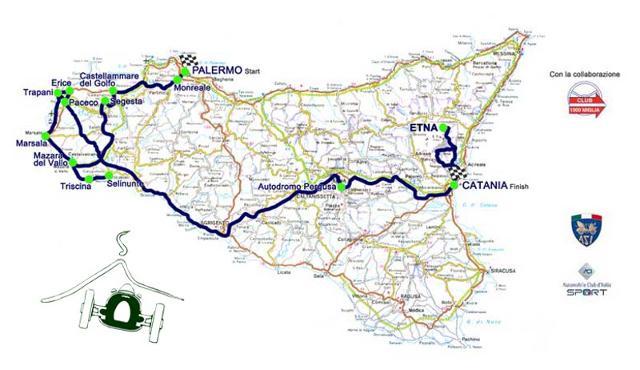 La mappa/percorso del XXI edizione del Raid dell'Etna