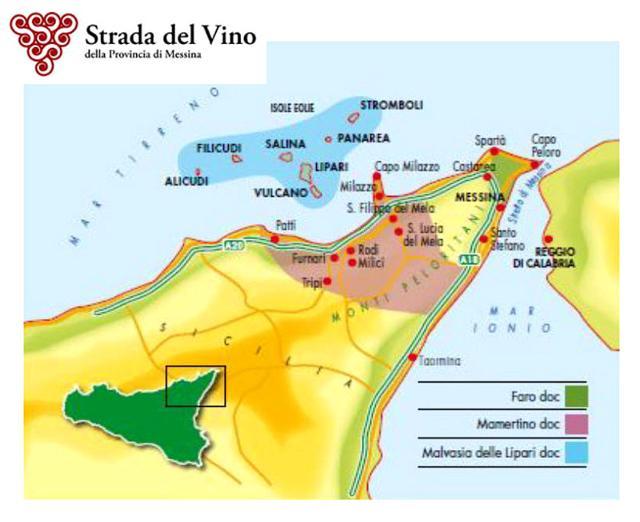 La mappa della Strada del Vino della Provincia di Messina
