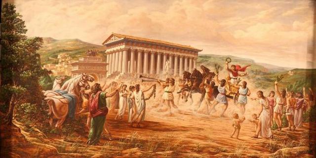 Il Trionfo di Esseneto dipinto nello storico sipario del Teatro Pirandello di Agrigento