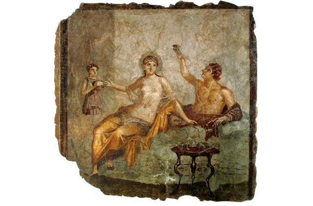 Scena di banchetto proveniente da Ercolano (I secolo d. C.) - affresco, Museo Archeologico Nazionale di Napoli