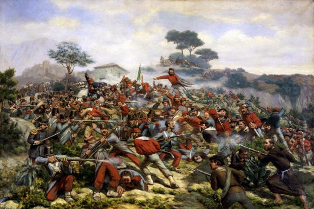 """""""La battaglia di Calatafimi"""", uno degli episodi più decisivi della Spedizione dei Mille, combattuta il 15 maggio 1860 - olio su tela di R. Legat"""